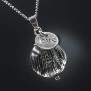 Tierhaarschmuck Anhänger Love - Silber