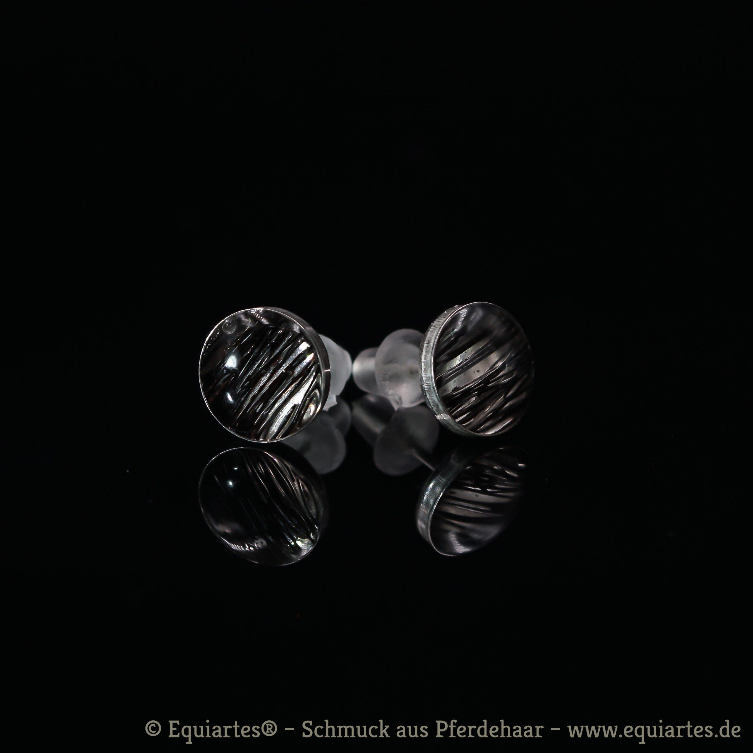 Tierhaarschmuck-Ohrschmuck - Ohrstecker mit Cabochon - Gemini I