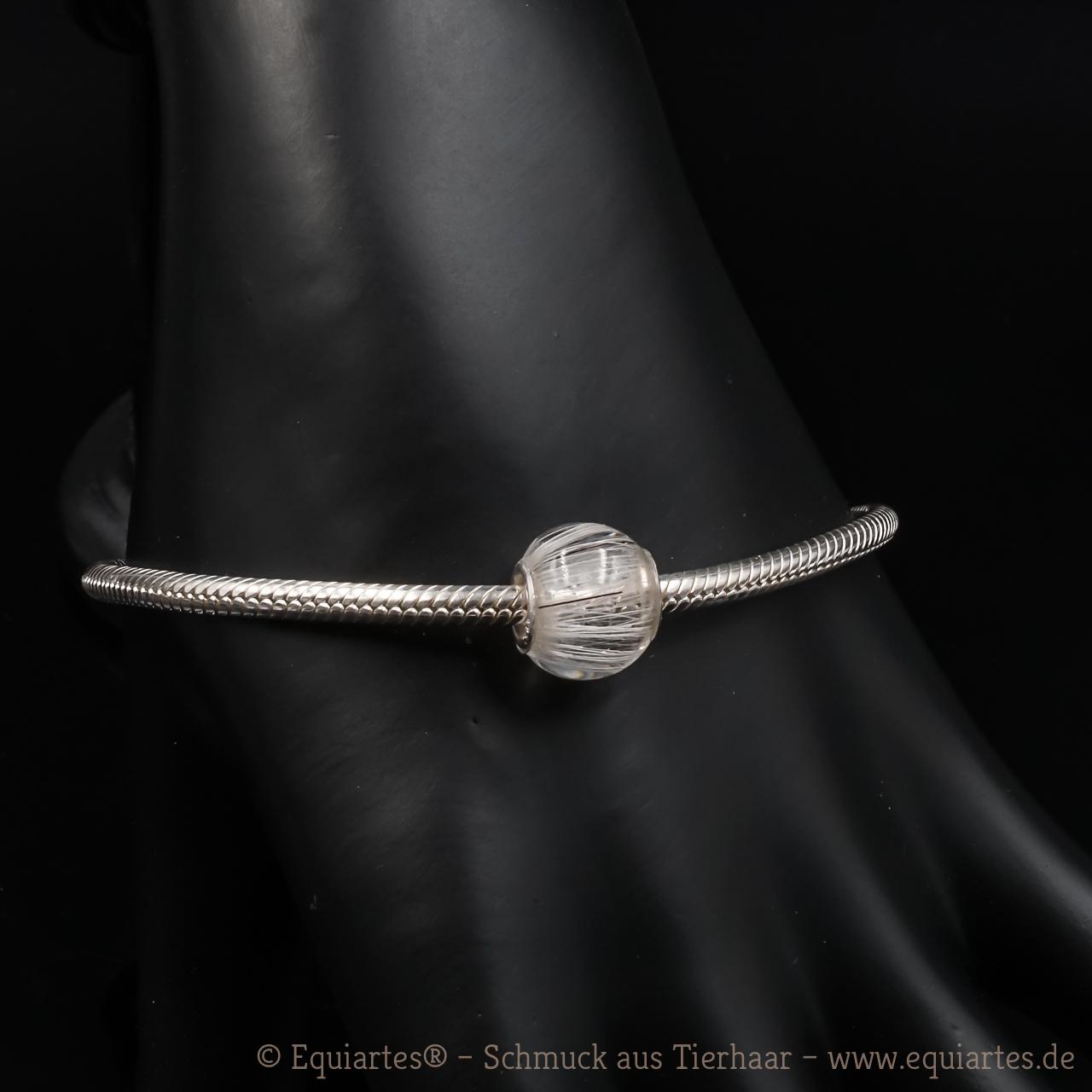 Tierhaarschmuck - Schlangenarmband Serpens - Sterlingsilber