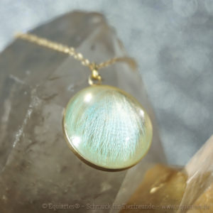 Tierhaarschmuck Medaillon mit Wellensittichfedern in Cabochon Gold
