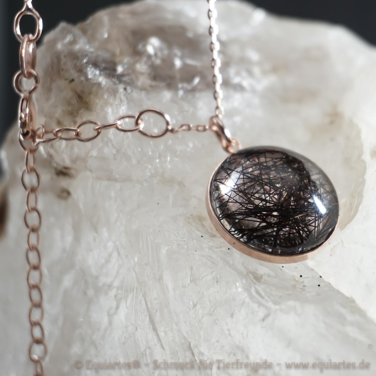 Tierhaarschmuck Medaillon flach mit Cabochon - rosévergoldet Sterlingsilber - Merkur