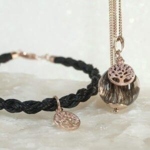 Schmuckset Pferdehaararmband und ierhaarschmuck Lebensbaum 925 silber rosévergoldet - bei Equiartes®