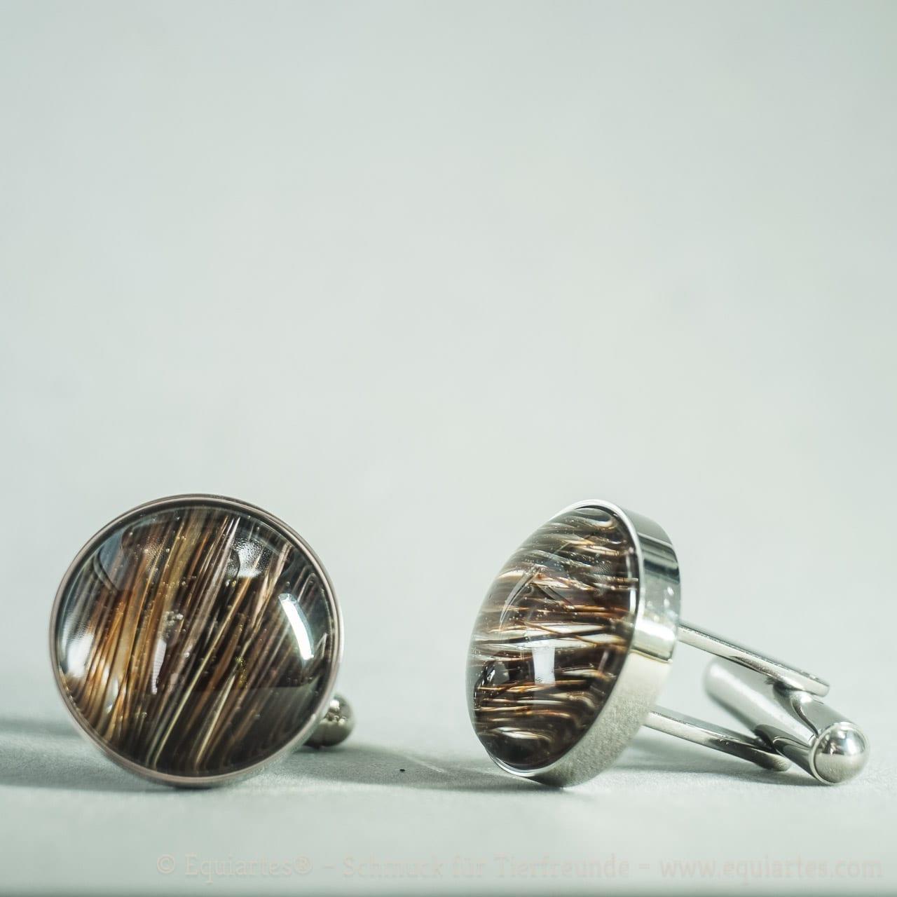 Equiartes® Cufflinks - Manschettenknöpfe mit Tierhaar - Edelstahl
