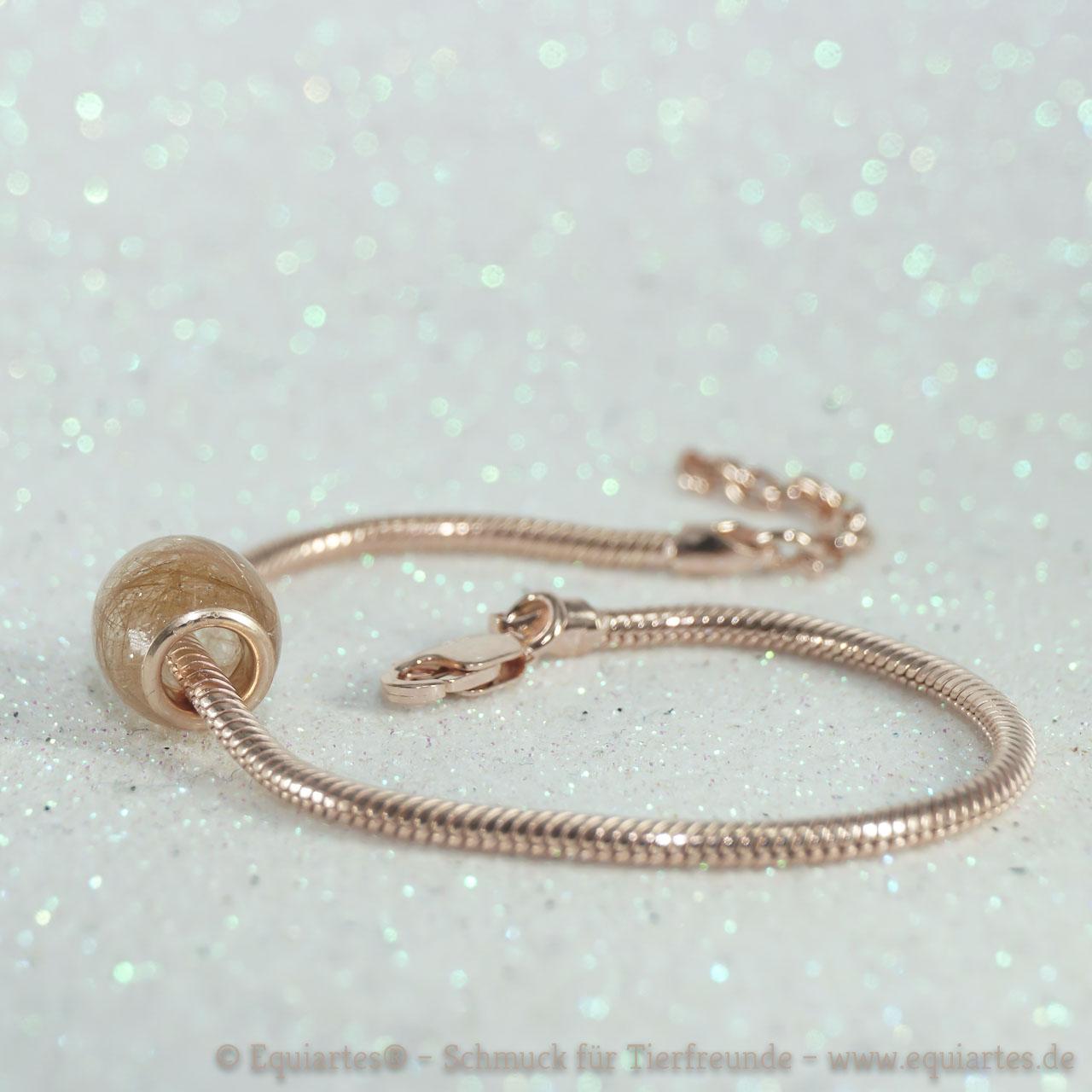 Tierhaarschmuck Schlangenarmband rosévergoldet Serpens V mit Großlochperle Silverstar Long S von Equiartes